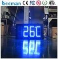 Leeman 10 дюймов 8 дюймов Синий 12 дюймов 4 цифры открытый светодиодные часы, времени, даты, температуры знак Цифровой Яркий Большой Дисплей открытый