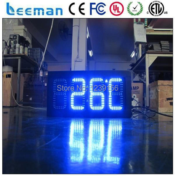 Leeman 10inch 8 inch Blue 12 inch 4 digits outdoor led clock time date temperature sign Digital Bright Large Display Outdoor
