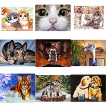 Diamond Painting 5D DIY Embroidered Pirate Dog German Shepherd Cute Cat Animal Cross Stitch Square Mosaic