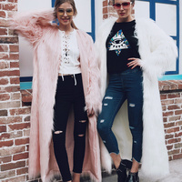 Heyouthoney Autumn Winter 2017 New Fashion Faux Fur Coat 5 Color X Long Coat Woman High