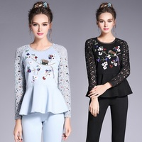 2018Spring women clothes set lace beaded sequins ruffled tops+long pants tracksuit set ladies fitness twinset plus size 5XL 3567