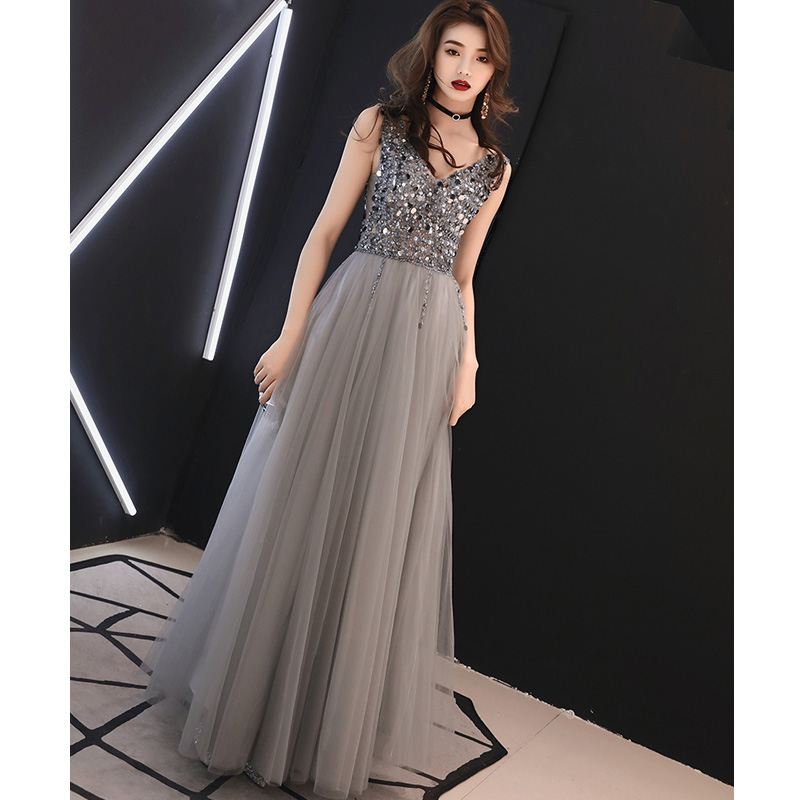 Fashion V Neck Beaded Crystal Gray   Prom     Dress   Long Tulle Backless Evening Gown