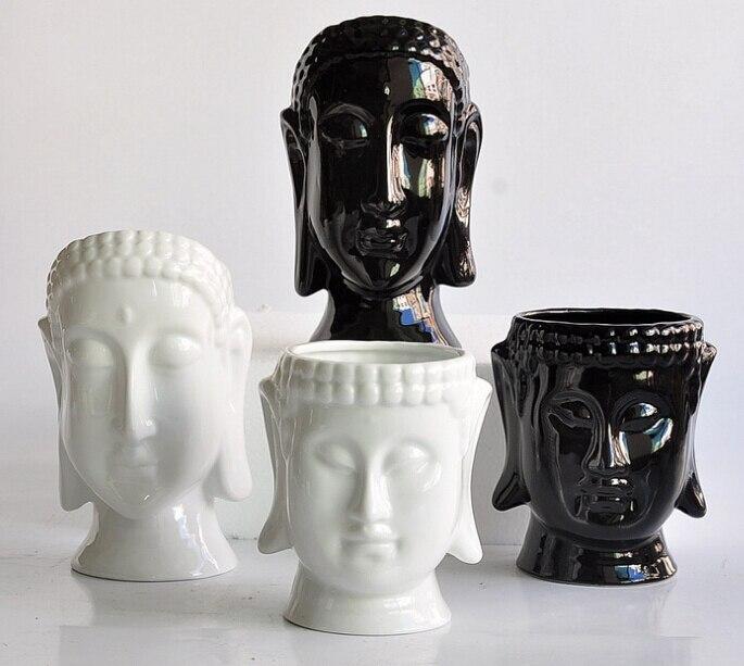 Porcelain Flower Pots Planters Flower Vases Home Decor Buddha Head Vases Modern Tabletop Pots