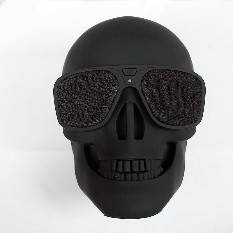 Finlemho Matt Black Skull Speakers Wireless Bluetooth Speakers With NFC  Mobile Multi-Purposed Speakers free shipping