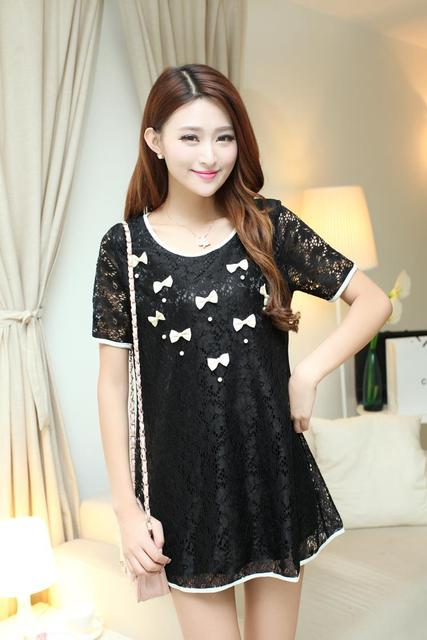 Pregnant dress Korean summer big yards hollow lace beaded dress pregnant women small bow summer dresses maternity clothes