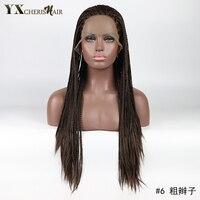 YXCHERISHAIR Dài 3X Hộp Dải Bện Tổng Hợp Ren Phía Trước Bện Tóc Giả cho Phụ Nữ Chịu Nhiệt Brown Cosplay Wigs Perruque 1 cái/lốc