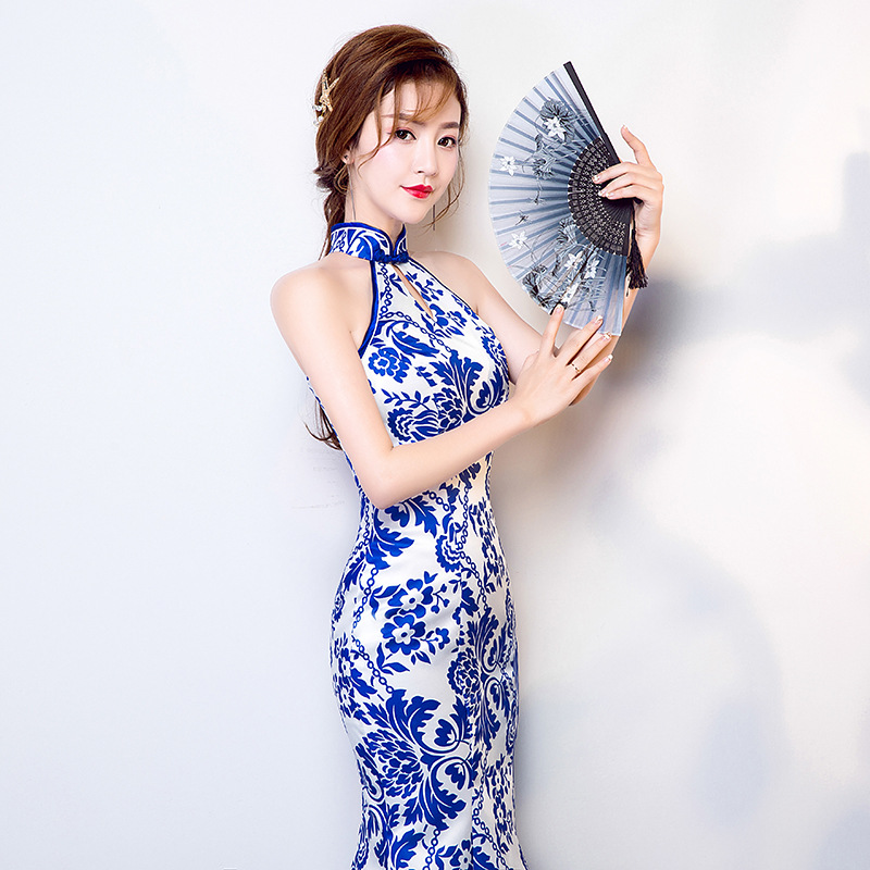Lady Slim Sleeveless Chesongam Long Chinese Traditional Dress for Party Women Wedding Qipao Dress Compere Clothing 90