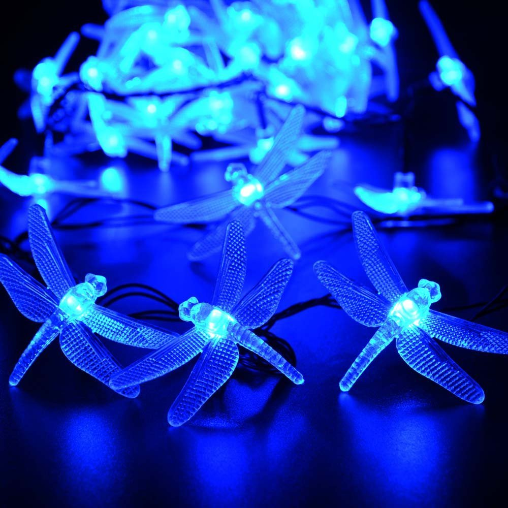 Dragonfly Solar String Lights 20 LED Waterproof Fairy Lighting for Indoor/Outdoor Garden Patio Wedding Party Holiday Decoration
