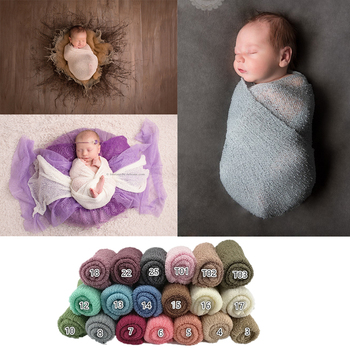 Knit Stretch Wraps Swaddle for Newborn Photography Props Baby Kids Wrap Receiving Blankets Cloth Accessories Photo shooting - discount item  35% OFF Bedding