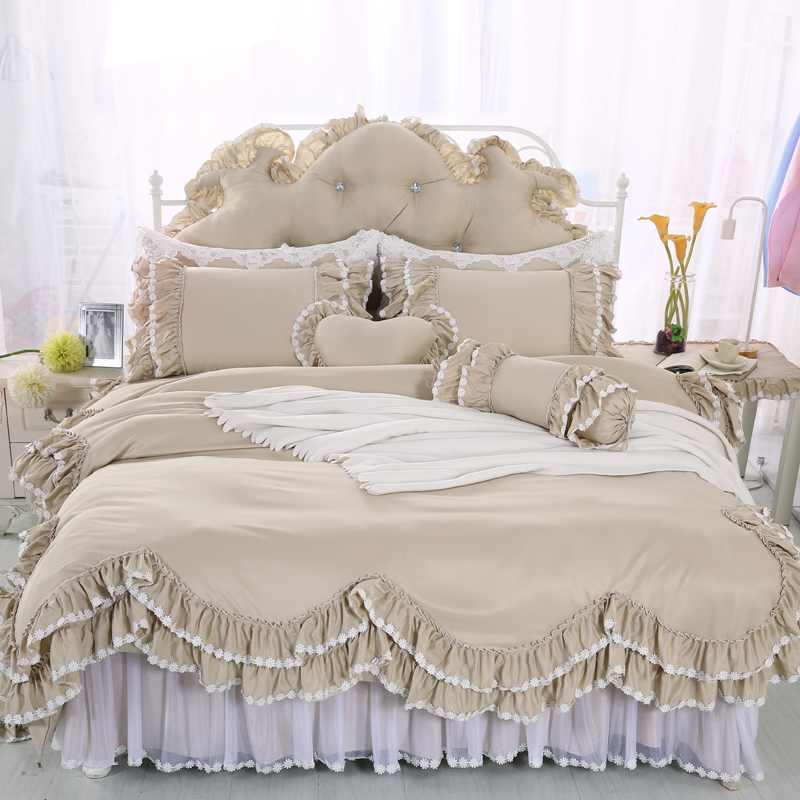 2017 Korean style king/queen/twin size 4/6/8pcs bed linen set bedding set  bedclothes duvet cover bed skirt pillowcases2017 Korean style king/queen/twin size 4/6/8pcs bed linen set bedding set  bedclothes duvet cover bed skirt pillowcases