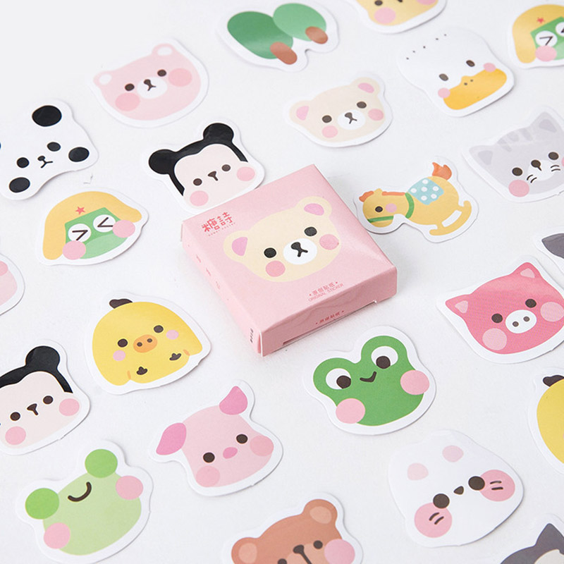 45 pcs/lot DIY Cute Kawaii Panda Bear Chick Cat Scrapbooking Stickers Cartoon Animal Stationery Stickers Label Sticky Paper 70 pcs lot diy cute kawaii bear owl pvc decoration stickers cartoon dog cat sticky paper for photo album student 3332