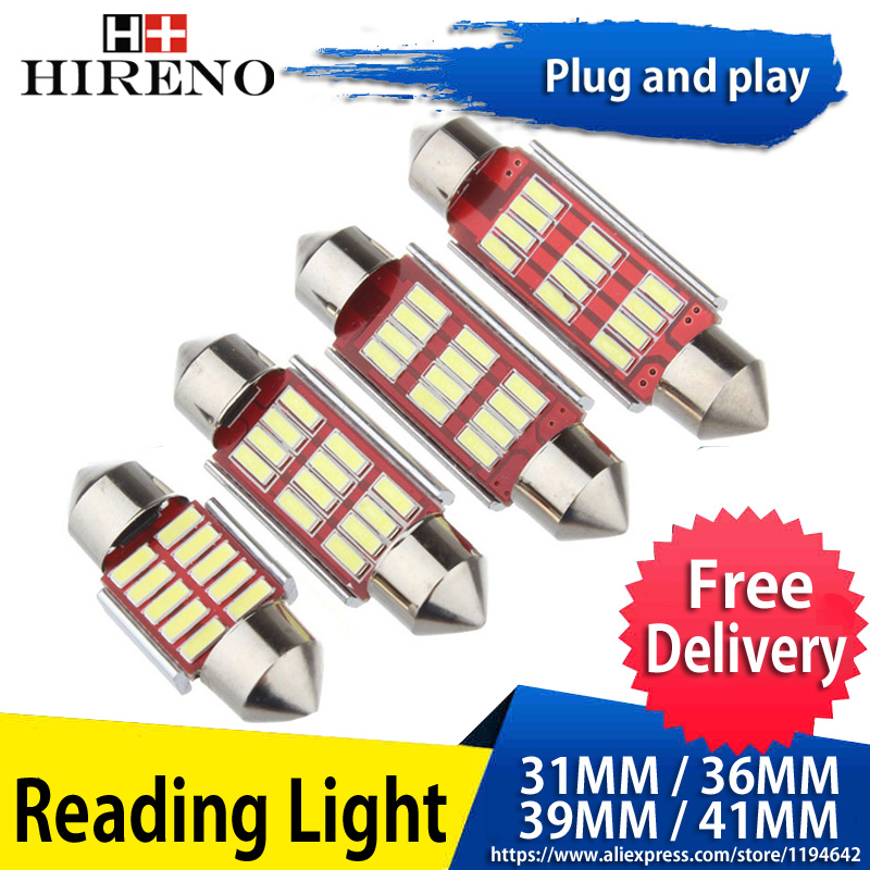1pcs Led Dome light 4014 smd 12led No Polarity c5w led 36mm 39mm 42mm Festoon Led Error Free C5W 12SMD Led Car Reading Light 31mm 36mm 39mm 41mm c5w c10w canbus no error auto festoon light 12 smd 4014 led car interior dome lamp reading bulb white dc 12v