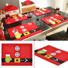 Hot New Table Dish Bowl Food Placemat Christmas Santa Suit Mat Table Runner Mats Pads Cutlery Holder Xmas Dinner Decor