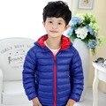 90% утка вниз мальчиков куртки 2016 новая мода ультра свет детей вниз пальто детей вниз и парки конфеты цвет утка пуховик