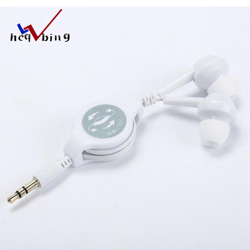 Universal Wired Earphone Portable Retractable Earbuds 3.5mm Ear Earpiece Music Listening Wired Earphones For Computer MP3 MP4