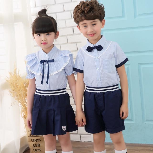 c9661f97709e Summer School Uniform Student clothes new boys girl suit 2pcs short sleeve  T-shirt+ pants sets