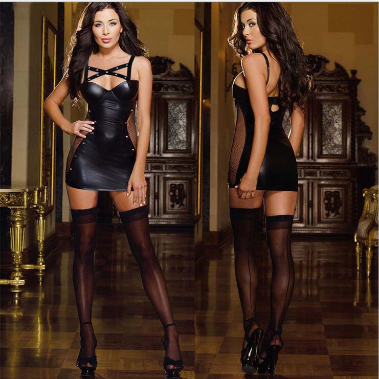 Sexy Leather Lingerie Stripper Wear Black Latex Cat Costume Erotic Catsuit Pvc Beyonce Dress Sex Suit