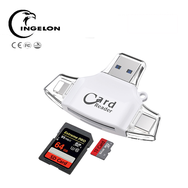 Ingelon Cardreader Micro Sd card Adapter Memory Card MMC Reader For iPhone 8 7 PLUS 5 5S 6S 6 /Samsung/LG Android OTG Phones ingelon type c micro sd card reader 3 in 1 otg usb c rs mmc flash memory for iphone ipad samsung macbook adapter micro sd reader