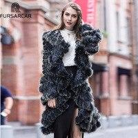 FURSARCAR/осенне зимняя трикотажная куртка из меха кролика рекс 2018, дизайнерское модное натуральное пальто из настоящего меха Меховой длинный ж