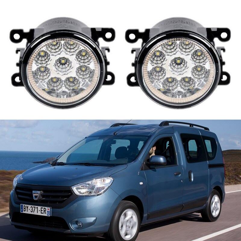 For Dacia Dokker 2013 2014 2015 Car Styling 9 Pieces Led Fog Lights 12V 55W Fog Head Lamp car styling for dacia renault sandero 2010 2016 9 pieces leds chips led fog light lamp h11 h8 12v 55w halogen fog lights