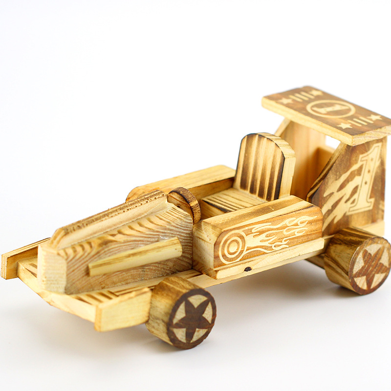 Wooden Racing Ornaments Figurines Vintage Car Decoration Racing Car Miniature Crafts Home Office Decor Accessory Kids Toys Gifts