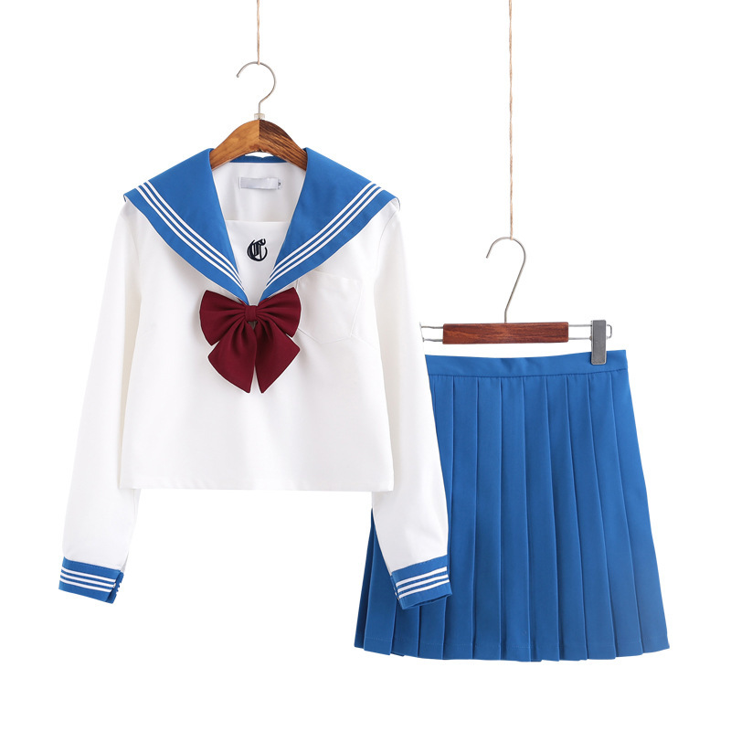 Sweet Light Blue School Girl Long Sleeve Japanese Sailor Suits Autumn College Middle High School Students Uniform S-2XL B70287AD