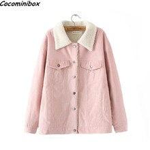 Cocominibox Women's Winter Batwing Lambswool Lapel  Corduroy Jacket Coat Outerwear