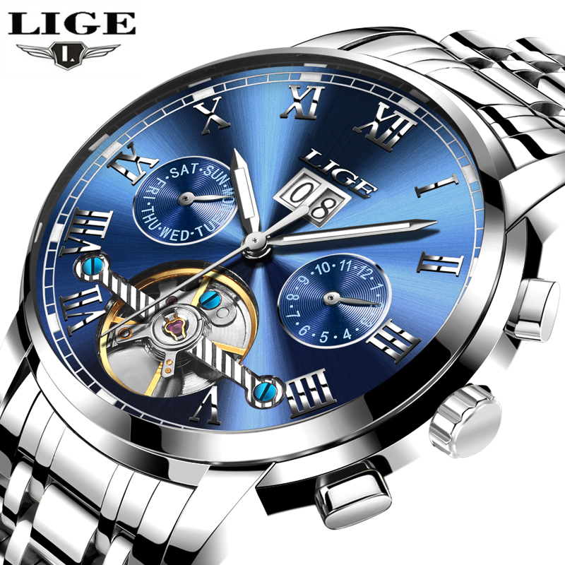 New LIGE Men's Watches Luxury Brand Fashion Business Automatic Watch Men Full Steel Waterproof Clock Man relogio masculino+box weide popular brand new fashion digital led watch men waterproof sport watches man white dial stainless steel relogio masculino