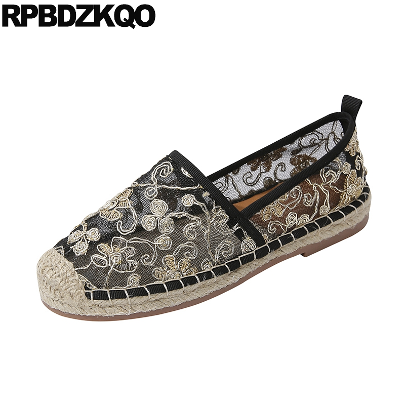 large size flower espadrilles cheap shoes china floral summer mesh embroidery fisherman embroidered hemp flats black women 2019