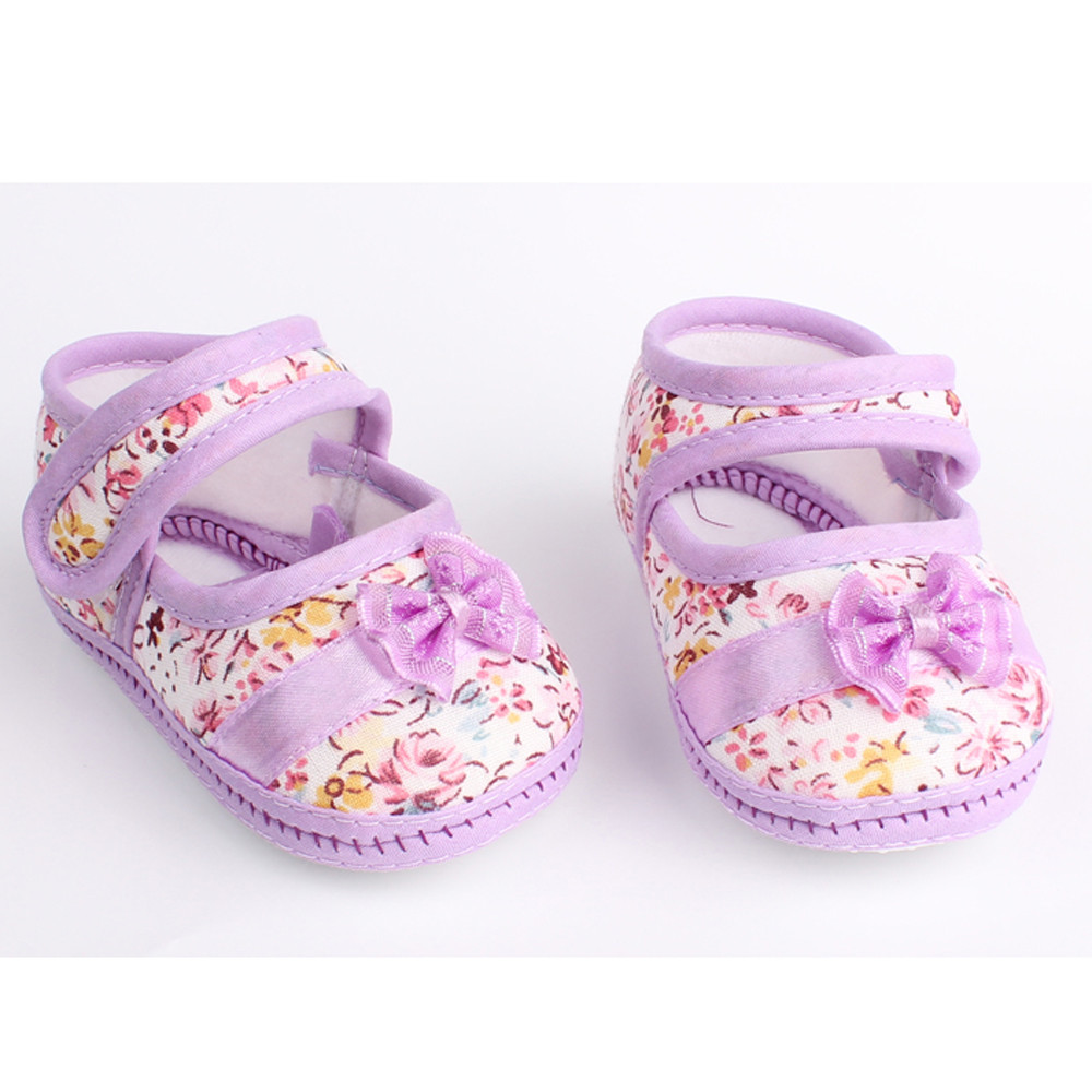 Shoes Soft-Sole Toddler Newborn Baby-Girl Anti-Slip Bowknot Print Comfortable