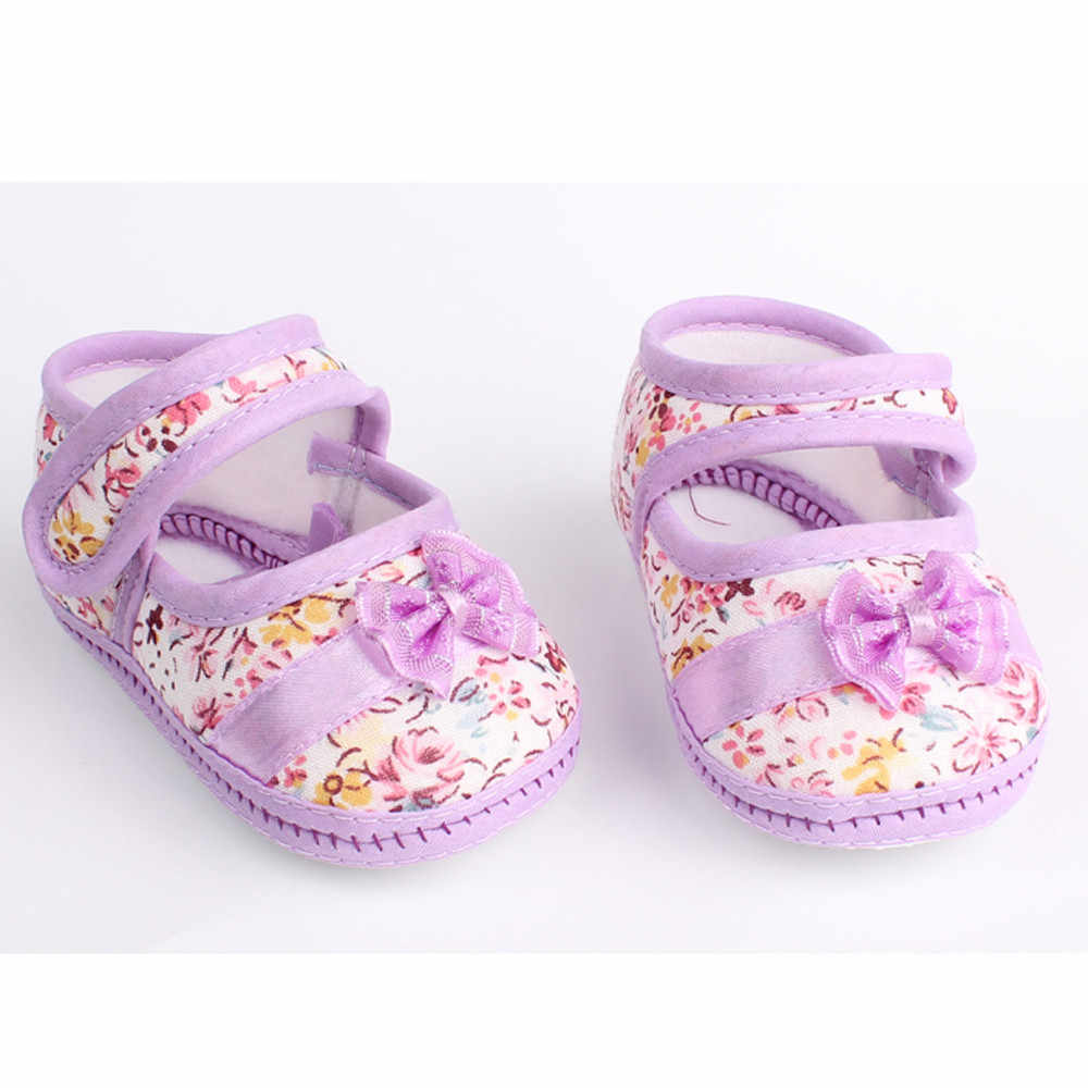Newborn Baby Girl Shoes Comfortable Soft Sole Lovely Bowknot Print Anti-slip Simple Casual Shoes Toddler обувь для новорожденных