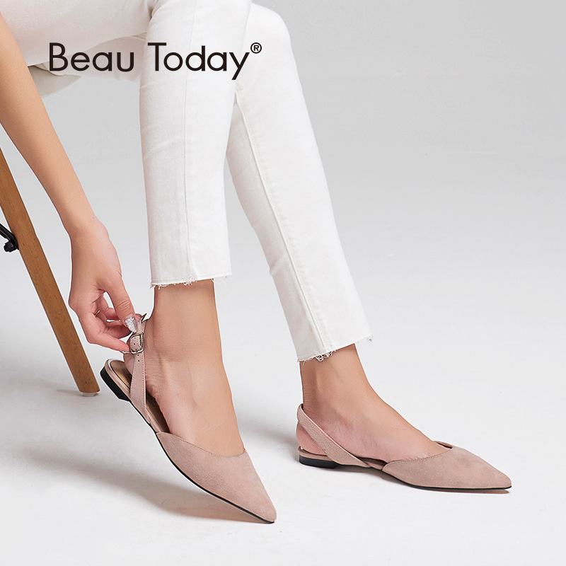 BeauToday Women Summer Sandals Kid Suede Genuine Leather Buckle Strap Pointed Toe Shallow Flat Heel Ladies