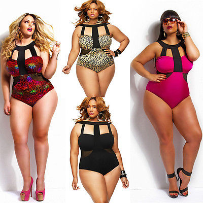 e431b06839a Plus Size women s girl Bikini Set One-Piece Monokini Swimsuit Padded  Swimwear UK 12 14 16 18