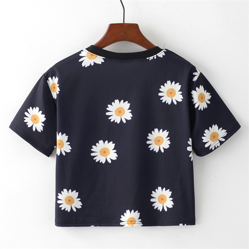 MITTELMEER 2018 Summer kawaii t Shirt Girls Student Women Harajuku Short Sleeve Cartoon chrysanthemum T-Shirts Tee 1