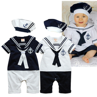 Newborn Navy Style Baby Romper Suit Kid Baby Boy Clothing Set Romper Hat Body Short Sleeve