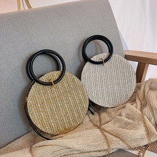 New straw bag fashion summer small woven bag women's hand bill of lading shoulder Messenger bag holiday beach bag real cow leather women bag cross body top handle bag classic casual fashion female bag of bill of lading messenger bag handbags
