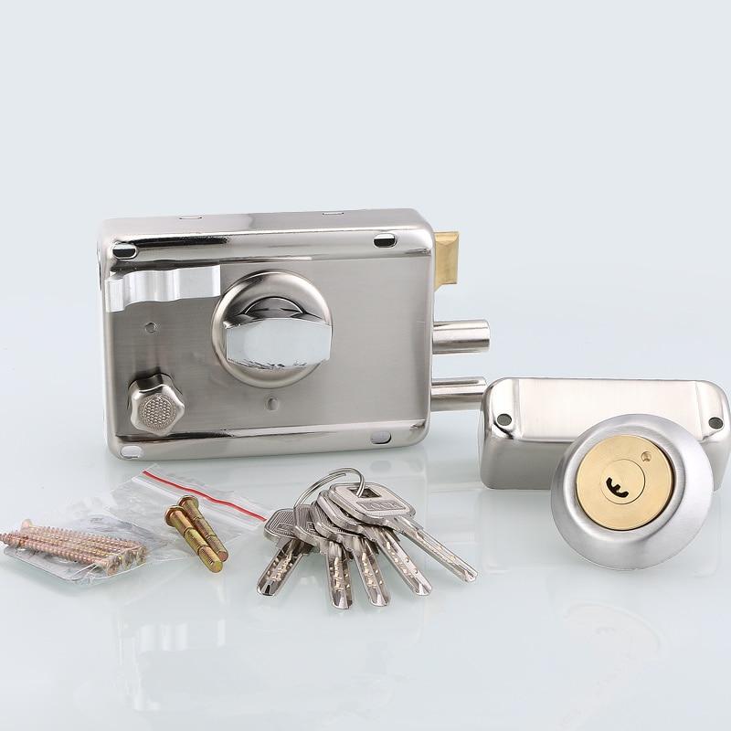 1set! Professional exterior door lock Security Anti-theft Lock Multiple Insurance Wood Gate Lock For Furniture Hardware ворота безопасности hauck wood lock safely gate silver