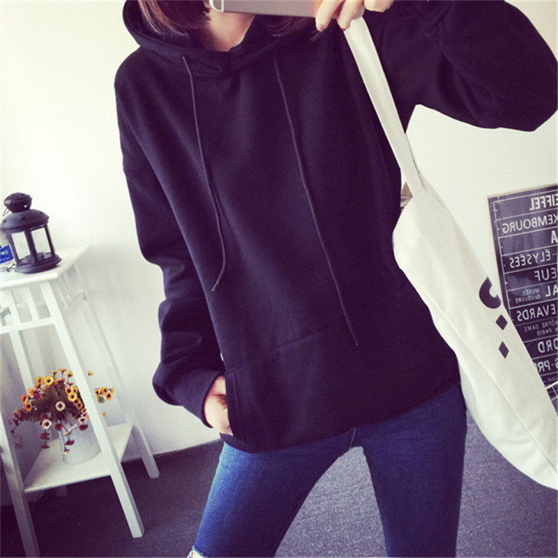 Hooded Tops Women's Sweatshirt Long-Sleeved Winter Velvet Thickening Coat 21
