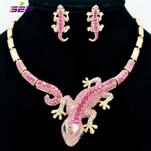 2014 New Animal Gecko Lizard Necklace Earring Sets Pink Rhinestone Crystal Women jewelry wholesaleFA3274