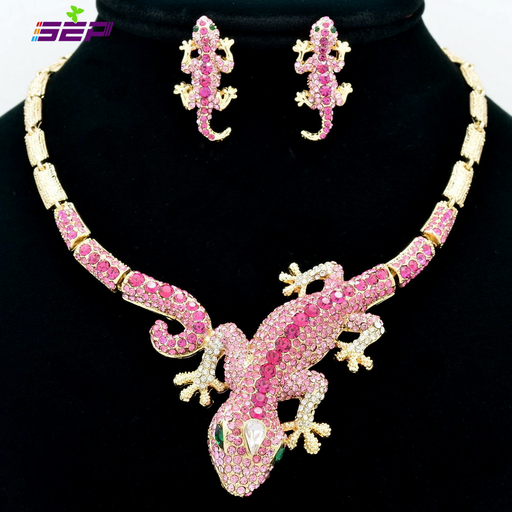 Fashion Animal Gecko Lizard Necklace Earring Sets with Rhinestone Crystal Women font b Jewelry b font