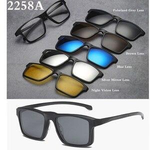 Image 5 - Belmon מחזה מסגרת גברים נשים עם 5 PCS קליפ על משקפי שמש מקוטבות מגנטי משקפיים זכר קוצר ראייה מחשב אופטי RS543