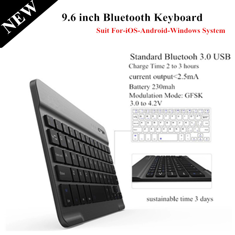 High Quality 9.6 inch Removable Wireless Bluetooth Keyboard For iOS Android Windows Tablet PC Bluetooh Keyboard