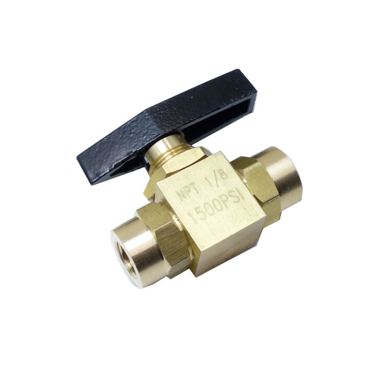 Brass 2 Way Instrument Ball Valve Panel Mounted 1/8 Female NPT 1500 psi female to female f f 1 2 pt threaded yellow lever handle brass ball valve