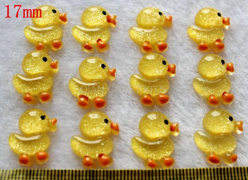 250 pcs glitter iridescent Yellow Duck Duckie Flatbacks 17mm Cabochons Gluable pendants Charm