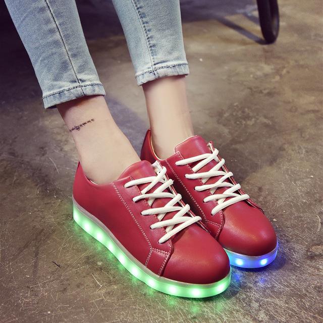 Colorido niños shoes nuevo otoño boys sport shoes con luz luminoso de carga usb niñas led light shoes kids sneakers ue 34-44