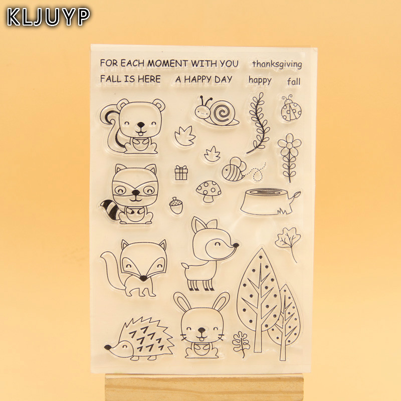 KLJUYP Cute Animals Transparent Clear Silicone Stamp/Seal for DIY scrapbooking/photo album Decorative clear stamp sheets chicken animals transparent clear silicone stamp seal for diy scrapbooking photo album decorative clear stamp sheets a547