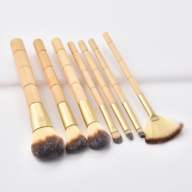BBL 7pcs Bamboo Makeup Brushes Set Portable Face Powder Highlighter Blush Concealer Tapered Blending Eyeshadow Eyebrow Brush Kit 2
