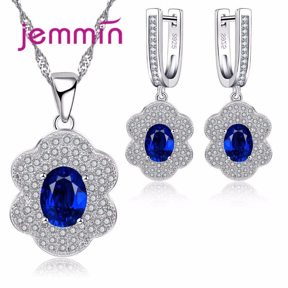 Fine Rhinestone 925 Sterling Silver Jewelry Women Sapphire Pendants Necklace Dangle Earrings Sets For Wedding Engagement