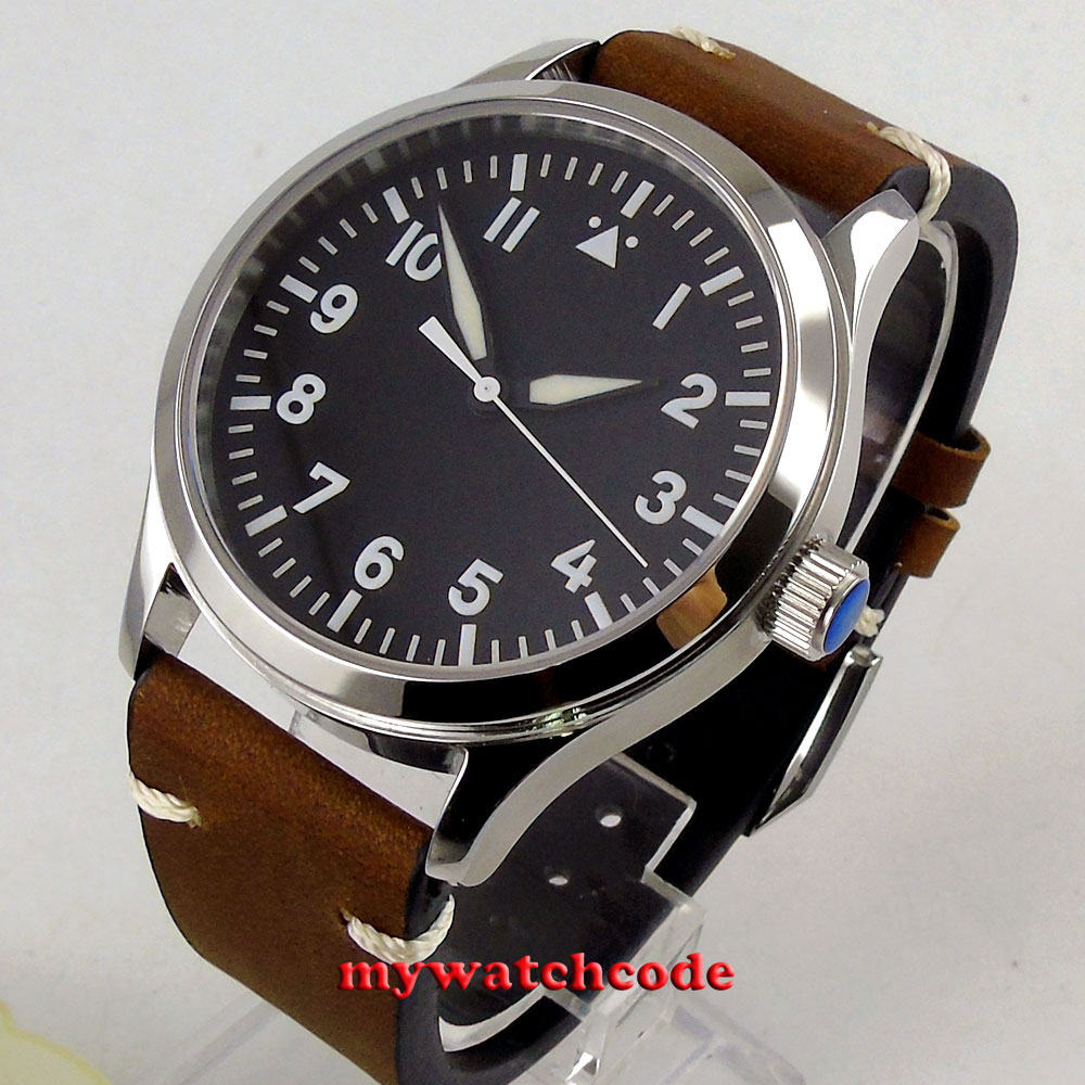 42mm corgeut black sterile dial white marks date window sapphire glass sea gull automatic mens Watch