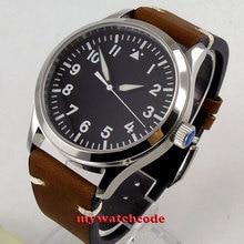 42 ミリメートル corgeut ブラック滅菌ダイヤル白マーク発光マークサファイアガラス海カモメ自動メンズ腕時計 C127